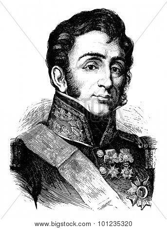 General Lamarque, vintage engraved illustration. History of France - 1885.