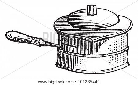 Casserole for liquid cooking on the stove for lunch, vintage engraved illustration.