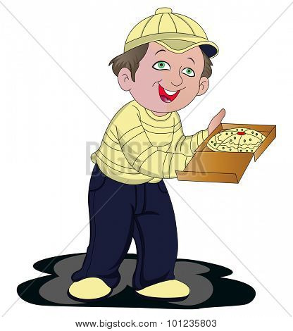 Vector illustration of pizza delivery boy with pizza box.