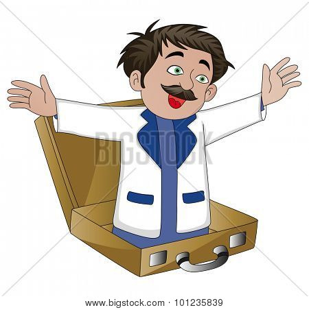 Vector illustration of businessman popping out from an open briefcase.