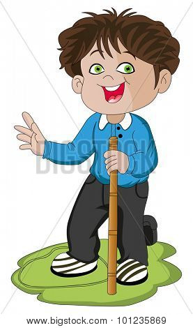 Vector illustration of excited boy holding a stick.