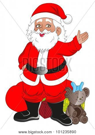 Vector illustration of santaclaus with christmas gifts.