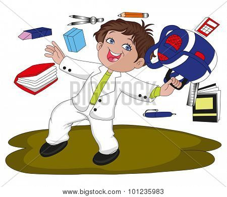 Vector illustration of boy with schoolbag and other accessories flying in air.