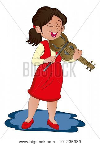 Vector illustration of a woman playing violin.
