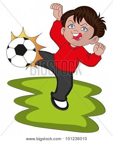 Vector illustration of a boy kicking soccer ball.