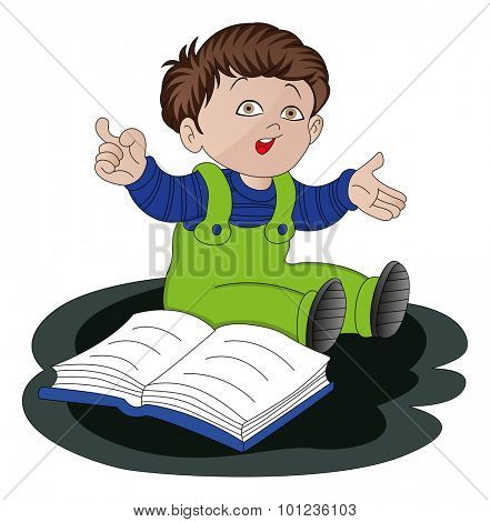Vector illustration of confused little boy studying.