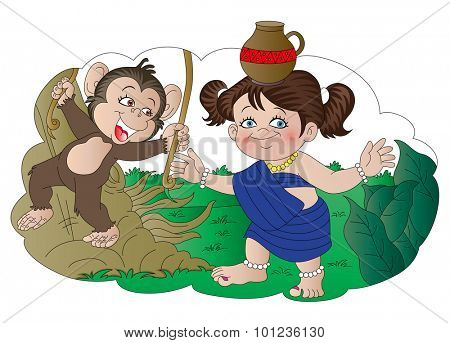 Vector illustration of monkey laughing at village girl carrying pot on her head.