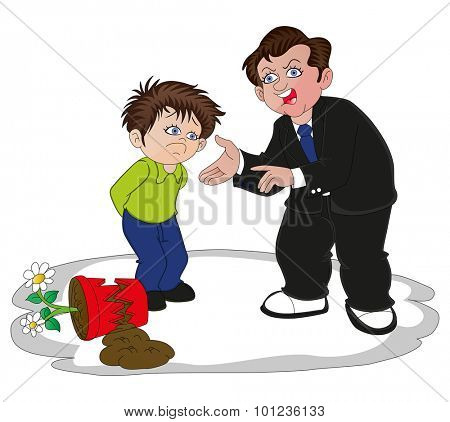 Vector illustration of businessman scolding his son for breaking the flower pot.