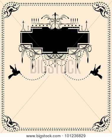 Vector vintage frame with hummingbirds