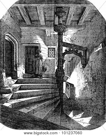 Stairs to the Psalette in Nantes, vintage engraved illustration. Industrial encyclopedia E.-O. Lami - 1875.