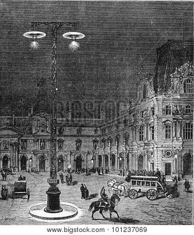 Lighting of the Place du Carrousel in Paris by electric light, vintage engraved illustration. Industrial encyclopedia E.-O. Lami - 1875.