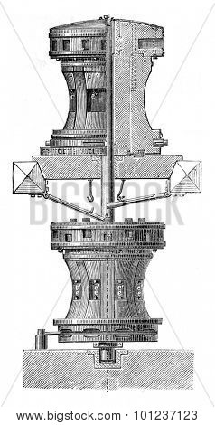 Capstan, vintage engraved illustration. Industrial encyclopedia E.-O. Lami - 1875.