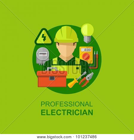 Professional electrician with electricity tools and equipment flat icons vector illustration