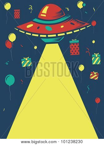 Illustration of a Birthday Party Design with a Space Theme