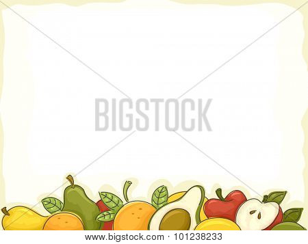 Background Illustration of Assorted Fruits Forming a Border