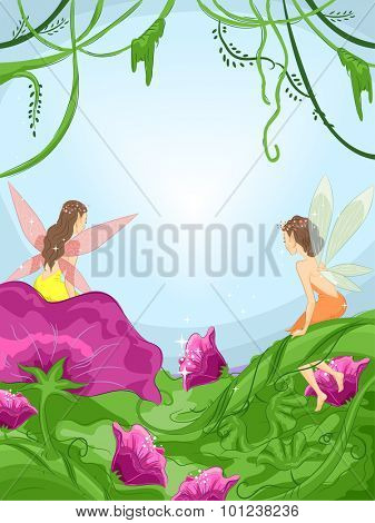 Illustration of Tiny Fairies Sitting on Flowers in a Mystical Forest