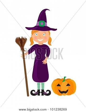 Cute cartoon girl in the Whitch Halloween costume with pumpkin. Smiling Girl with red hair, in whitch hat and dress with broom in hands. Vector.