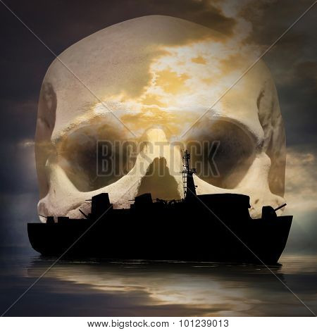 Mysterious ghost ship on a evening sea. Skull on background.