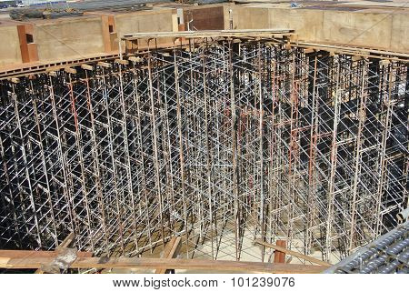 Scaffolding erected to support slab formwork