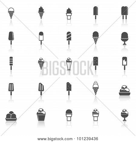 Ice Cream Icons With Reflect On White Background