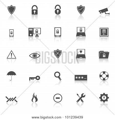 Security Icons With Reflect On White Background