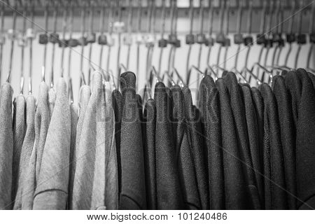 Black and white shirt on hangers
