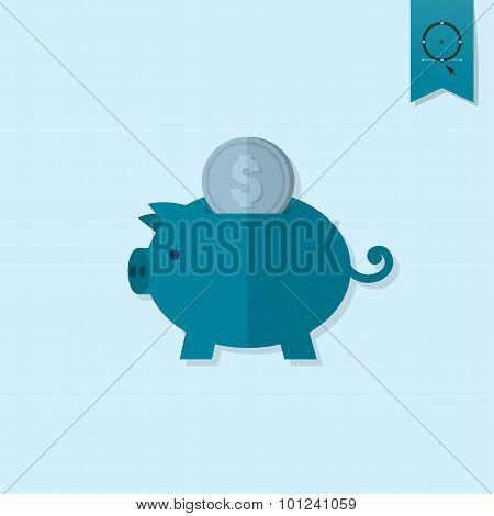 Piggy Moneybox with Coins