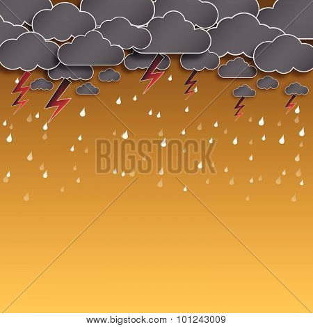 Cloud And Rain, Thunderstorm, Background Vector