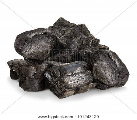 Charcoal Close-up Isolated On A White Background