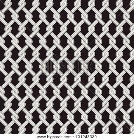 Metallic Grill Weave Texture With Dark Background, Vector Illustration