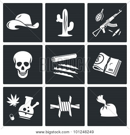 Mexican Cartel And Arms Smuggling Vector Icons Set