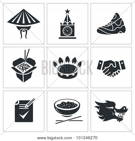 The Partnership Between Russia And China Vector Icons Set