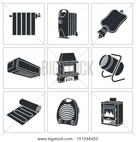 Climate, Equipment Vector Icons Set
