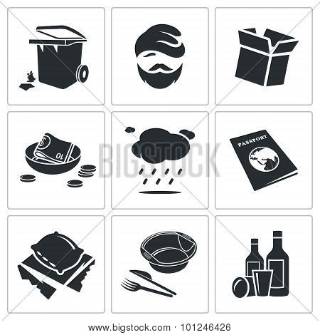 Poverty And Homelessness Vector Icons Set