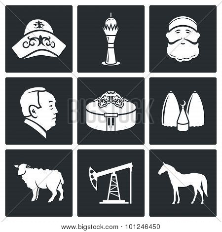 Kazakh Culture Vector Icons Set