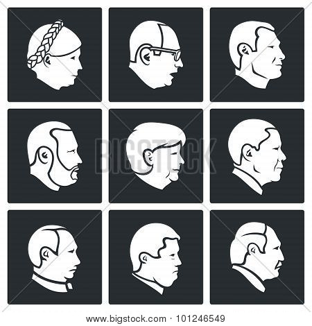 People Head Vector Icons Set
