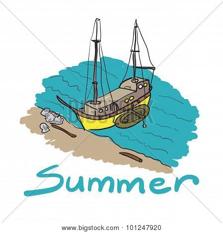 Color Sketch Of A Boat And An Inflatable Boat Moored On A Sandy