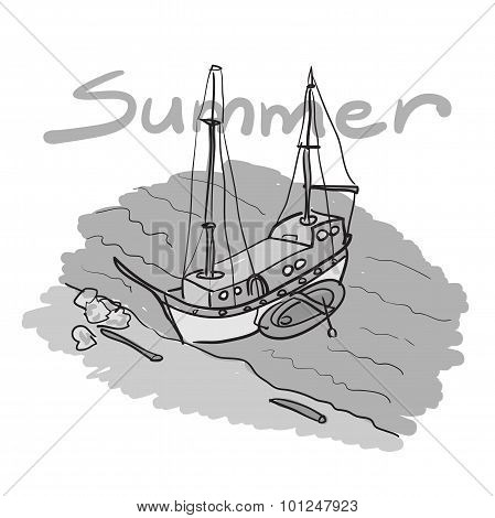 Sketch Of A Boat And An Inflatable Boat Moored On A Sandy Beach