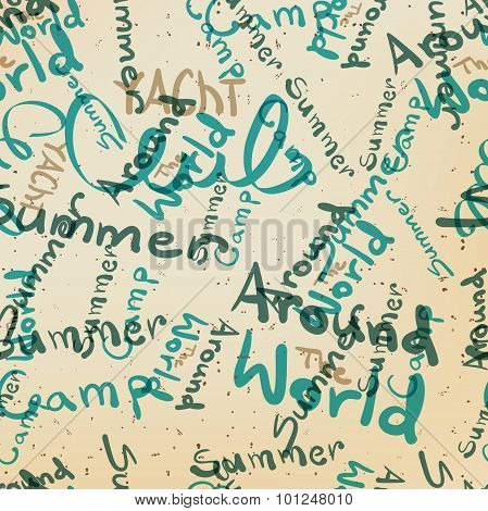 Textile Seamless Pattern Of Words On The Subject Of Travel And S