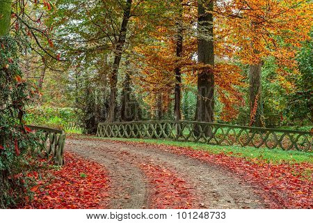 Stone fence along footpath in colorful autumnal park in Piedmont, Northern Italy.