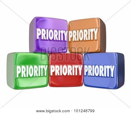 Priority word on 3d cubes or blocks to illustrate ranking the most important jobs, tasks, projects or considerations to pay attention and complete