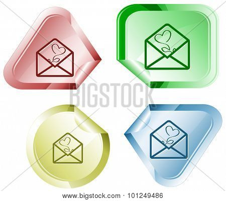open mail with tulip. Vector sticker.