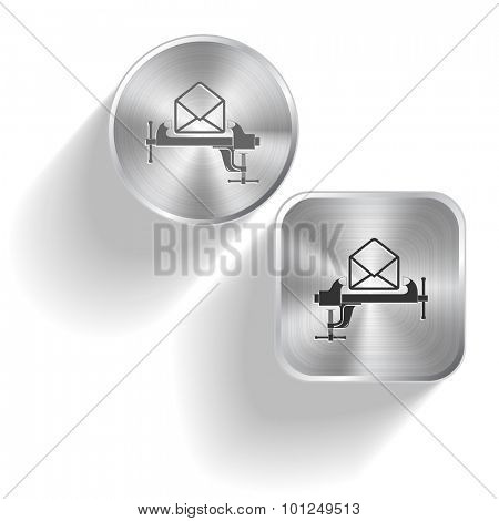 open mail with clamp. Vector set steel buttons