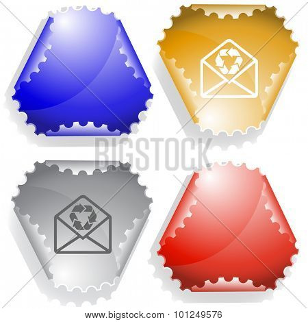 open mail with recycle symbol. Vector sticker.