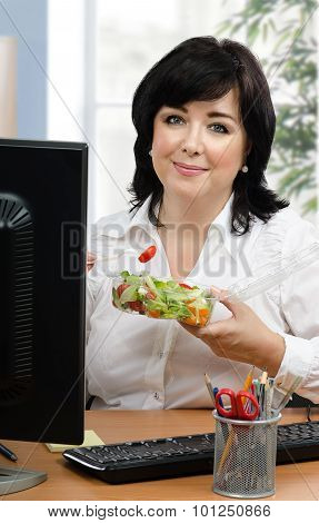 Woman Advertising Takeaway Vegetable Salad