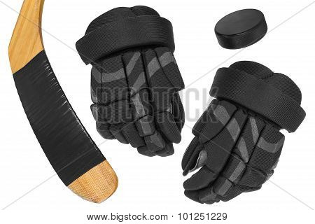 Hockey Gloves, Stick And Puck