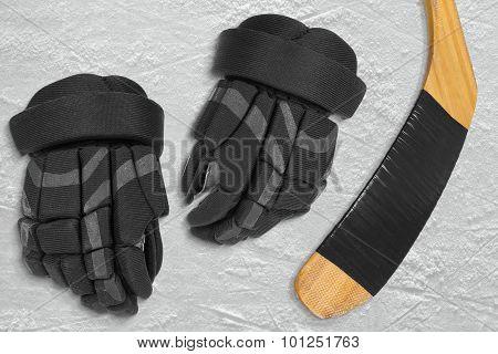 Hockey Gloves And Stick