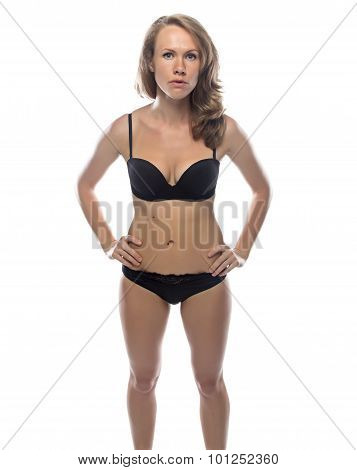Blond woman in black lingerie, slim figure