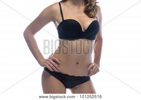 Woman leaned at side in black lingerie