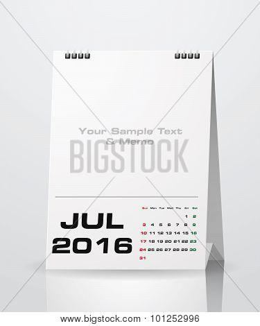 July 2016 Calendar.